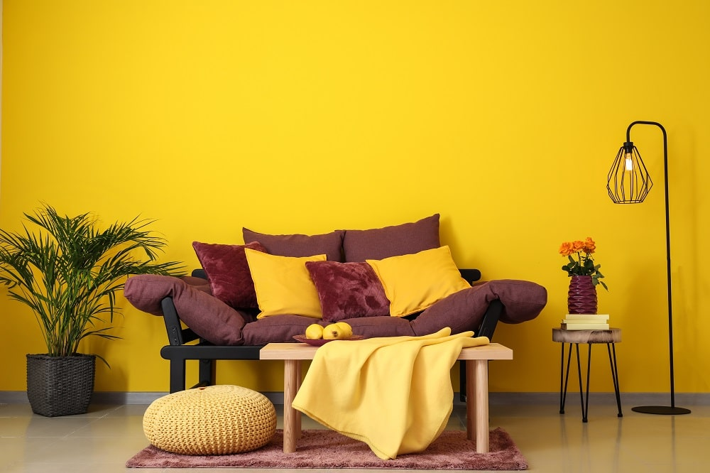 Yellow Orange Colors Vibrant Interior, Yellow Paint Colors For Living Room